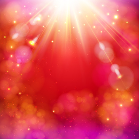 Dynamic red abstract background with a bright star burst with rays of light and copyspace, square format vector illustration.