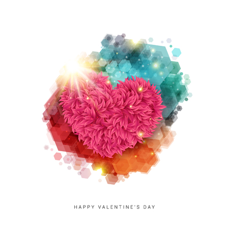 Happy Valentines day card. Decorative floral heart in bright rays of shining star. Bright colored hexagon stain. Vector illustration.