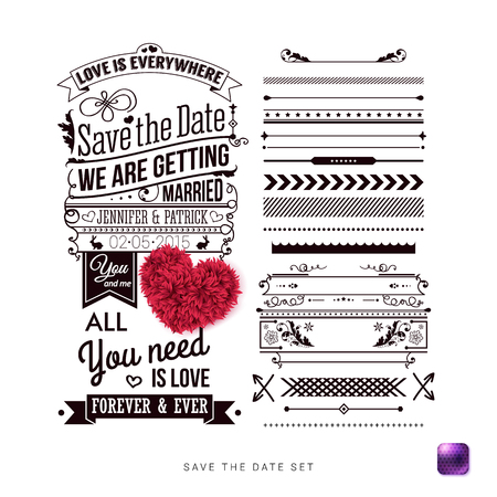Save the date for your personal holiday. Typography design, Set of Border Patterns and Symbols and decorative heart made of leaves on a Simple White Background. Vector illustration.