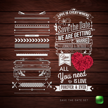 Save the date for your personal holiday. Typography design, Set of Border Patterns and Symbols and decorative floral heart on a Rustic Wooden Background. Vector illustration. Ilustrace
