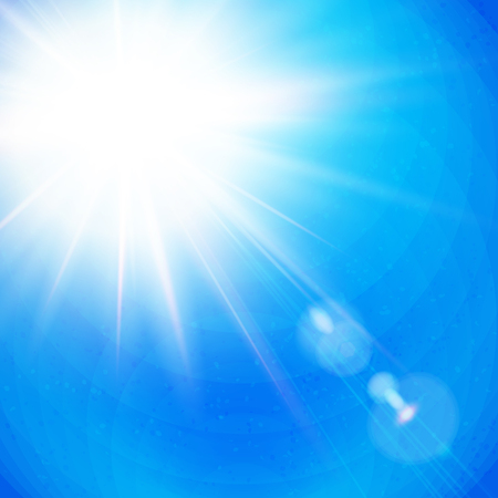 Vivid Sunburst with radiating rays in a clear blue sky with sun flare in square format, vector illustration.