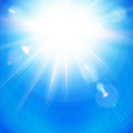 Bright Sunburst with radiating rays in a clear blue sky with sun flare in square format. Vector illustration.