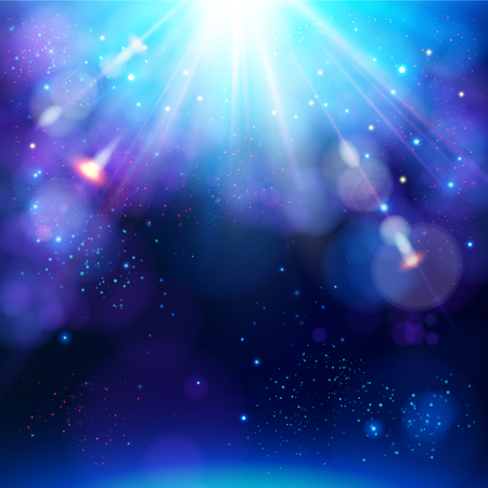 Sparkling blue festive star burst background with a dynamic bright white explosion of rays of light over a twinkling bokeh for your greeting or text, vector illustration.