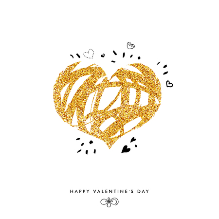 Shimmering Valentine Day Card Concept with Golden Glitter Heart and hand drawn details. Vector illustration. Ilustrace