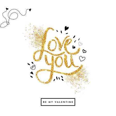 Positive Golden glitter Love You Text on Off White Background with sketchy details. Valentine card. Vector illustration.