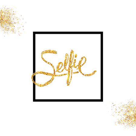 Golden glitter Selfie Concept on Off White Background with black frames and shimmering dust. Vector illustration.