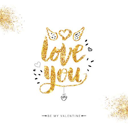 Valentine card. Golden glitter Love You Concept on Off White Background with Hand drawn details. Vector illustration.