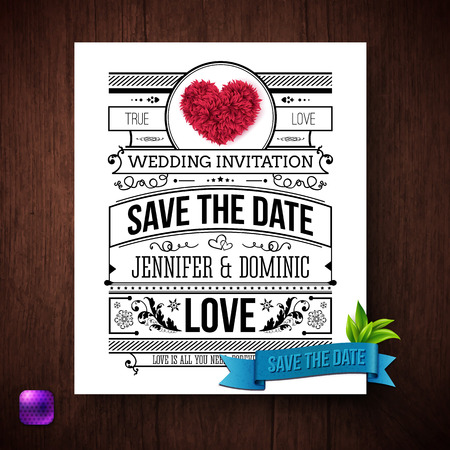 Save the Date wedding invitation template with black and white text decorated with curlicues and flowers with a romantic red heart header and blue ribbon banner below, vector illustration. Ilustrace