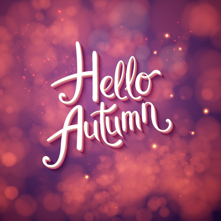Autumn card or poster design - Hello Autumn in stylish script with curlicues over an abstract pink, purple and magenta background with soft bokeh and sparkles, vector illustration. Ilustrace