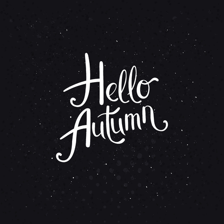 Stylish classic black and white Hello Autumn design with flowing white script over a textured black background with white points in square format, vector illustration. Stok Fotoğraf - 115956103