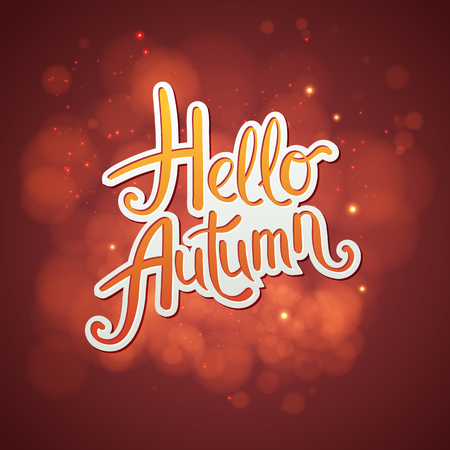 Artistic red Hello Autumn card design with scrolling script - Hello Autumn - over an abstract glowinf red background with soft blurred bokeh and twinkling sparkles, vector ilustration.