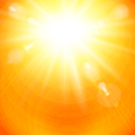 Dramatic vivid golden sunburst in a fiery orange sky with sun flare in square format for use as a background or design element, vector illustration. Illustration