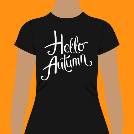 Hello Autumn t-shirt design template with simple flowing white text with curlicues in a slanted design over the chest modeled on a person over an orange background, vector illustration Illustration