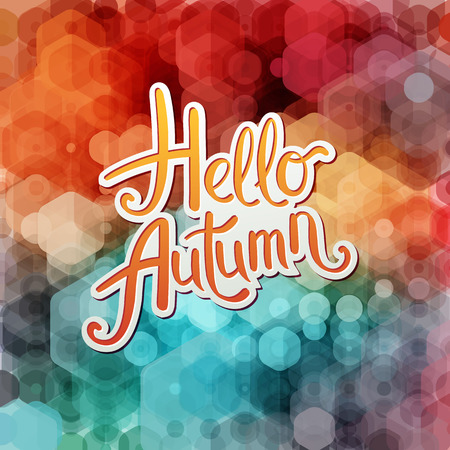 Vibrant Hello Autumn design with colorful orange and white text over an abstract background with hexagonal bokeh in the colors of the rainbow, vector illustration.