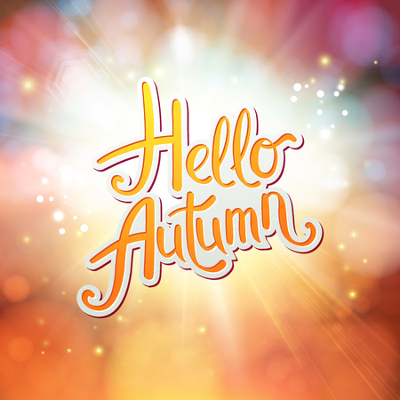 Dynamic orange Hello Autumn card design with a sunburst or explosion over a surreal dreamy background in autumnal colors and orange text, vector illustration. Ilustrace