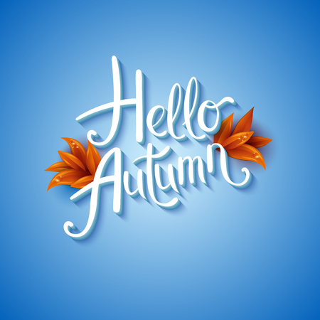 Cool fresh blue Hello Autumn design with elegant white text and bunches of orange fall leaves over a graduated blue background with glow effect, vector illustration.