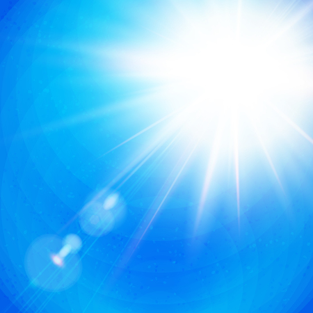 Bright white sunburst with radiating rays in a clear blue sky with sun flare in square format, vector illustration.