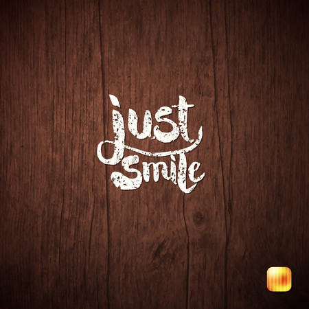 Simple White Just Smile Texts on Wooden Background Graphic Design. Illusztráció