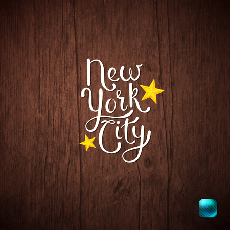 Simple White Text Design for New York City Concept on Abstract Wooden Background. Vector illustration.