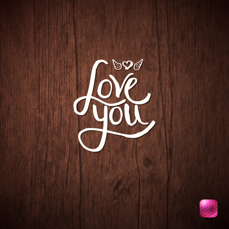 Love You simple flowing white text with a small winged heart on a wood background with a pink navigation button and vignette in square format, vector illustration.
