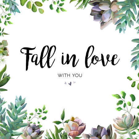 Vektorkartendesign mit saftiger Blumenanlage, gezeichneter schöner Blumenstrauß des Beerenkraut-Blattmischungsaquarells Hand. Postkarte der eleganten Kunst, Grün laden ein Reizender Schönheit Echeveria-Kaktus-Zusammensetzungs-Kopienraum