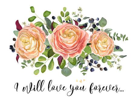 벡터 플로랄 디자인 카드 : 정원 분홍색 복숭아 장미 Ranunculus 꽃 시드 유칼립투스 나무 가지, 녹색 숲 펀 블루 베리 꽃다발을 유지합니다. 결혼식 초대 벡터 일러스트, 수채화 엽서