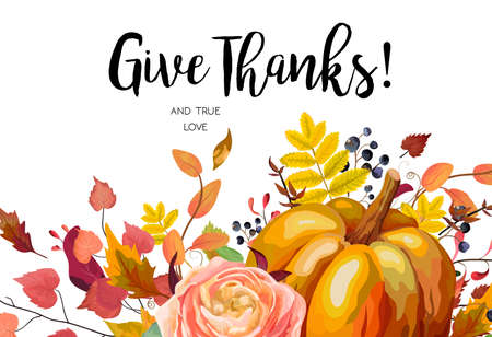 Happy Thanksgiving Vector floral watercolor style hand drawn Greeting card design: Autumn season Pumpkin pink ranunculus flower cute colorful natural fall leaf herb border frame Give Thanks text space Illustration