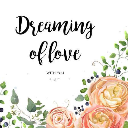 Tarjeta de diseño floral del vector: rosa de melocotón del jardín rosa flor de Ranunculus sembró la rama de árbol de eucalipto, hojas verdes de helecho del bosque, marco de frontera de baya. El vector de la boda invita al ejemplo, postal de la acuarela