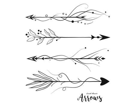 Arrow hand drawn set. Vector arrows collection in boho rustic style. Linear beautiful ornate with curve dots vintage illustration. Decorative lovely pattern arrows icon art selection for design Ilustração