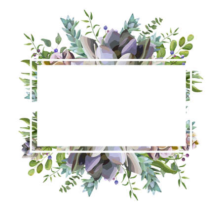Vector card design with Succulent flower plant, berry herb leaf mix watercolor hand drawn beautiful bouquet. Elegant postcard, greenery wedding invite. Lovely echeveria cactus border, text space frame
