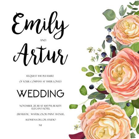 Huwelijksuitnodiging, uitnodigen kaart Ontwerp met aquarel hand getrokken roze perzik roos ranunculus bloem liguster blauwe bes, eucalyptus, varenblad boeket, mooie frame grens. Vector bloementuin