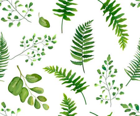 Naadloos groen groen bladeren botanisch, rustiek patroon Vector floral aquarel stijl ontwerp: bos varenblad varenblad, kruiden. Aardbehang, natuurlijke textuur, trendy druk geïsoleerde witte achtergrond