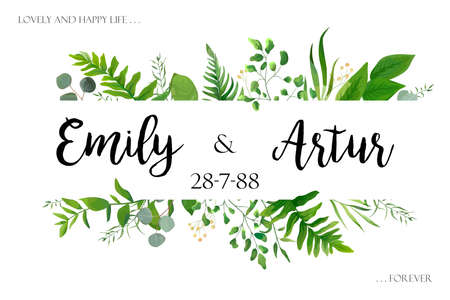 Wedding invite invitation card vector floral greenery design: Forest fern frond, Eucalyptus branch green leaves foliage herb greenery, berry frame, border. Poster, greeting Watercolor art illustration
