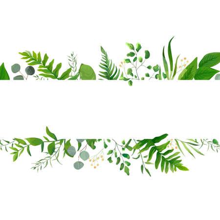 Conception de cartes de verdure florale de vecteur: fougère de forêt fronde branche d'eucalyptus feuilles vertes feuillage cadre de baies de verdure jaune. Invitation affiche de mariage invitation illustration art aquarelle dessinée à la main Vecteurs