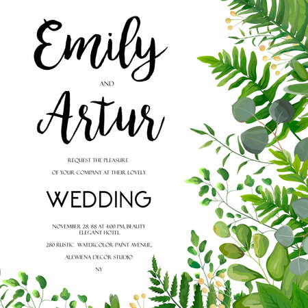 Wedding Invitation, floral invite card Design with green fern leaves elegant greenery, berry, eucalyptus forest bouquet corner frame, border print. Vector garden anniversary cute illustration template Vectores