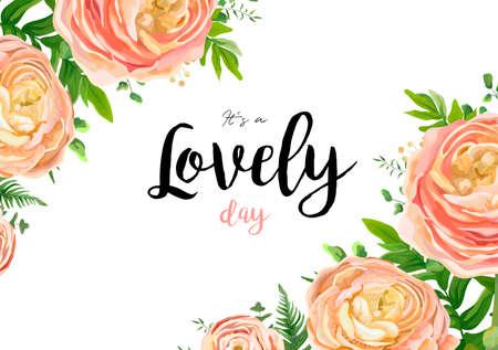 벡터 꽃 수채화 스타일 카드 디자인 : 핑크 복숭아 장미 꽃 꽃 유칼립투스 녹지, 펀 프런트 자연 프레임 아름다움 테두리 나뭇잎. 벡터 초대장 엽서 섬 일러스트