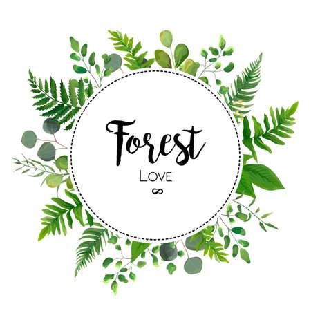 Invitación de vector floral tarjeta Diseño con helecho de eucalipto verde deja elegante greenery baya bosque redondo círculo guirnalda hermoso marco de curación frontera impresión. Ilustración de jardín de vector, invitación de boda Ilustración de vector
