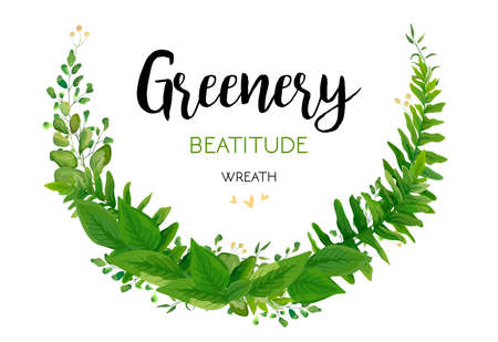 Floral vector invite card with green Eucalyptus fern leaves elegant greenery, berry forest half round wreath border print. Vector garden illustration, Wedding cute Invitation, design, beauty element