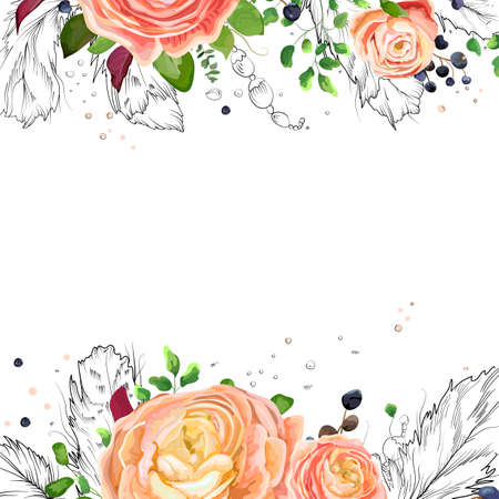 Vector floral watercolor card design: pink peach rose Ranunculus flowers Eucalyptus greenery, fern leaf, bird line drawn graphic feathers frame border. Vector cute invite, postcard, elegant copy space