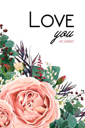 Vector floral watercolor style card design: Lavender antique pink vintage garden Rose Eucalyptus greenery thyme, agonis blue purple leaf, berry border. Vector bohemian wedding invite lovely text space