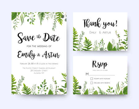 Invitación de boda, menú de invitación rsvp gracias tarjeta floral vector greenery design: Fronda del helecho del bosque, follaje de hojas verdes de rama de eucalipto, frontera de marco de hoja de vegetación de hierbas. Conjunto de plantillas de acuarela Ilustración de vector