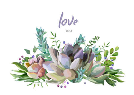 A Vector card with flower berry and herb leaf mix watercolor hand drawn beauty bouquet. 矢量图像