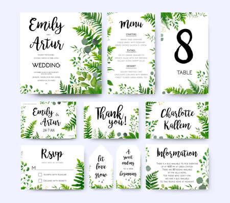 結婚式の招待状、招待メニューrsvpはあなたに感謝カードベクトル花のデザイン緑のシダフロンド、ユーカリブランチ緑の葉葉の葉緑ベリーフレーム
