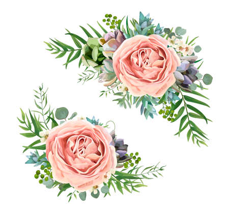 A Vector floral bouquet design: garden pink peach lavender Rose wax flower, Eucalyptus branch, green fern palm leaves, succulent berry. Wedding vector invite illustration Watercolor designer element set Vectores