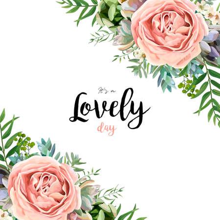 Disegno floreale bouquet di carta vettoriale con giardino rosa pesca lavanda fiore di cera rosa ramo di eucalipto felce verde foglie di palma illustrazione di bacca succulenta modello di bordo acquerello progettista Vettoriali
