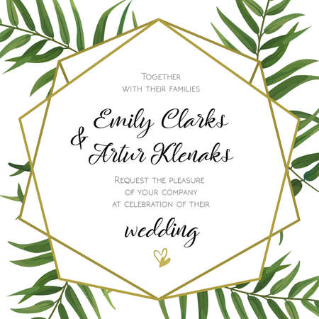 Wedding Invitation, floral invite card Design with green tropical forest palm tree leaves, forest fern greenery simple, geometric golden border hexagonal print. Vector cute garden greeting, copy space