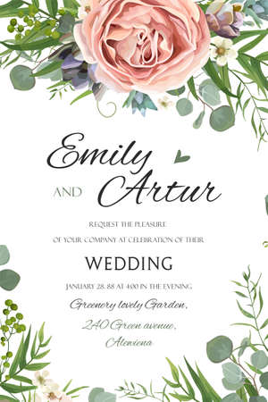 Wedding Invitation, invite save the date floral card vector Design: garden lavender pink peach Rose Succulent wax green palm leaves elegant greenery eucalyptus forest bouquet wreath frame border print