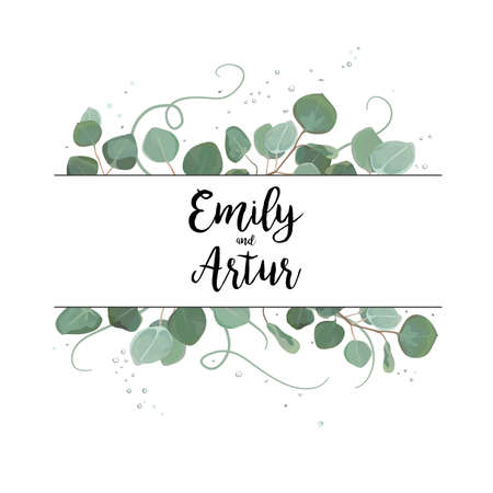 Vector floral card design Eucalyptus silver dollar branch greenery foliage natural leaves frame in watercolor style Vector decorative rustic wedding invite invitation wedding postcard elegant template
