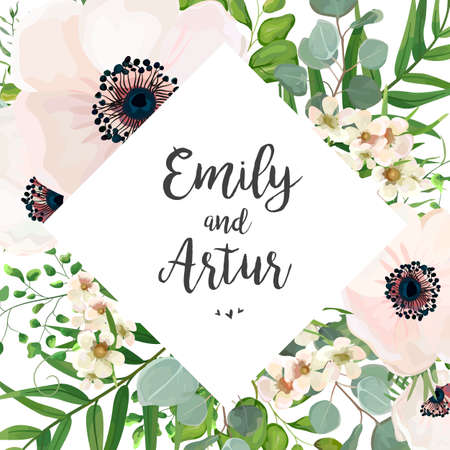 Vector floral wedding invitation card design: Eucalyptus silver dollar branch greenery, foliage natural leaves rhombus frame in watercolor style. Vector decorative rustic invitation postcard elegant cute