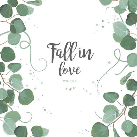 Eucalyptus silver dollar green branches, leaves foliage, border, frame. Vector floral watercolor style forest elegant cute greenery layout for Wedding Invitation invite postcard card Design copy space 向量圖像